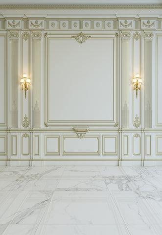 Luxurious Beige Wall Wedding Marble Floor Backdrop for Photography Prop
