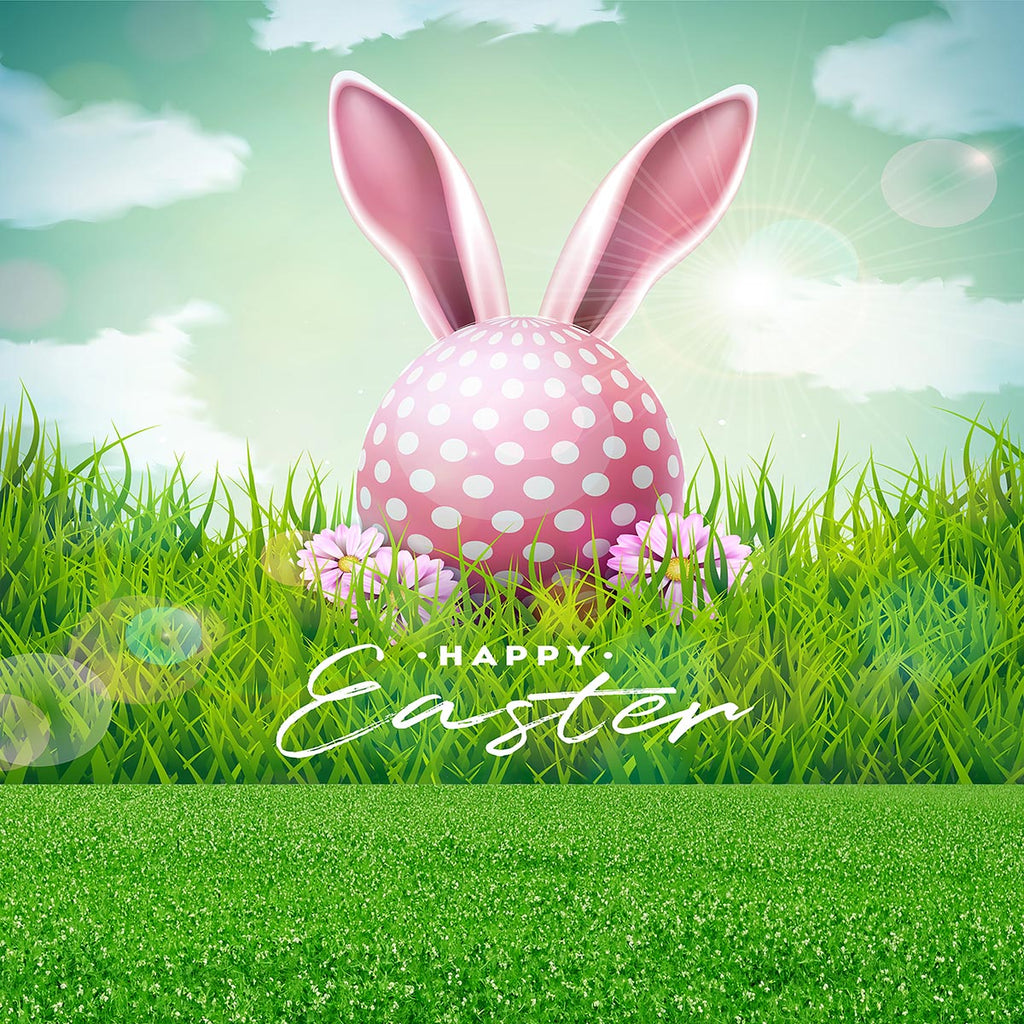Green Grass Floor Happy Easter Pink Polka Eggs for Spring