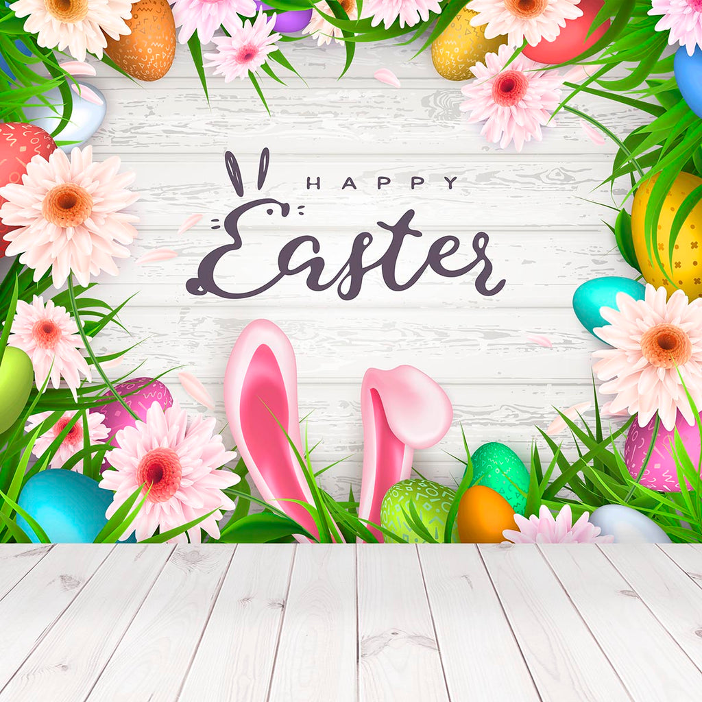 White Wood Happy Easter Floral Rabbit Backdrop for Spring