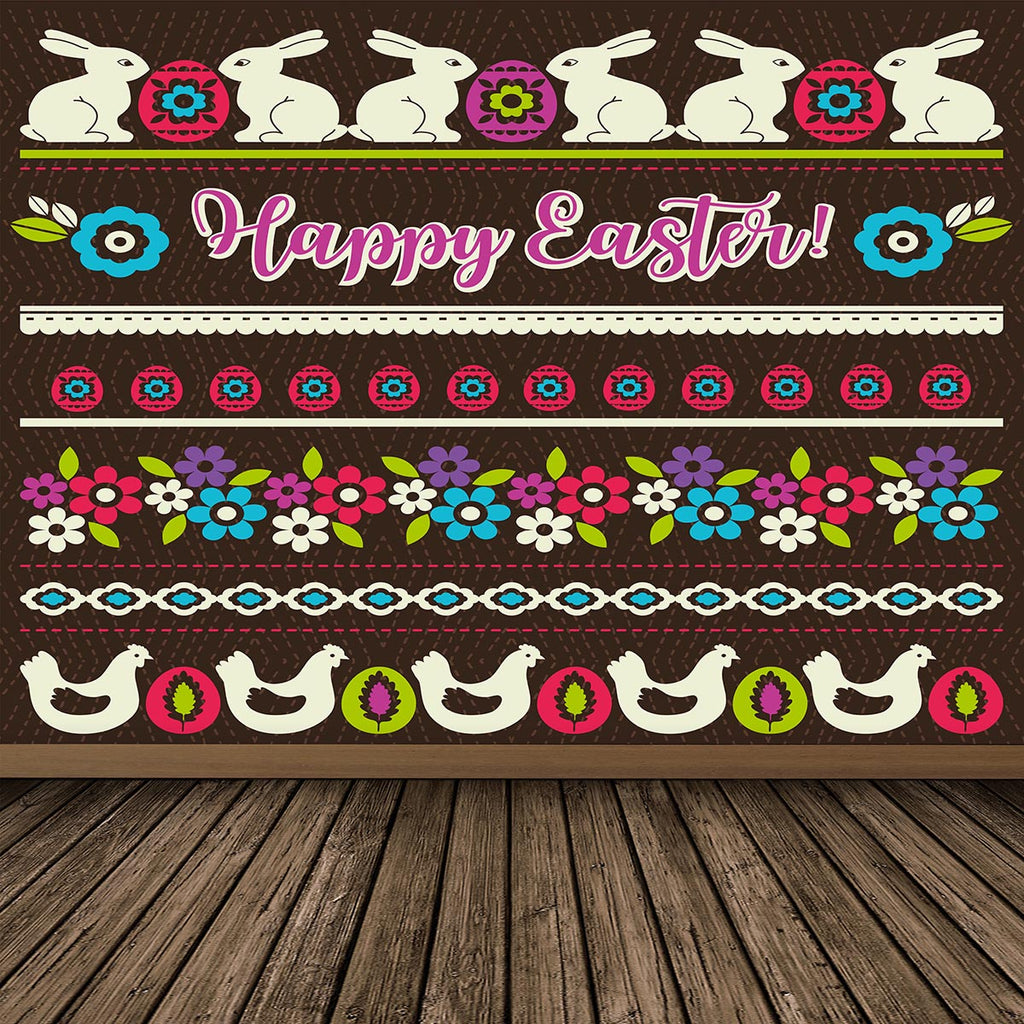 Cartoon Dark Happy Easter Wooden Floor Backdrops for Picture