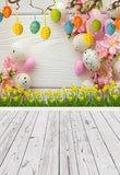 Happy Easter Colorful Eggs Flowers White Wood Floor Backdrops