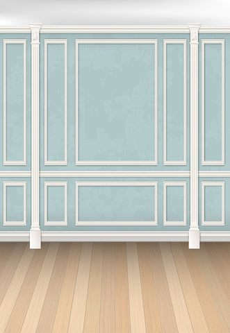 Blue Wall with Brown Wood Floor White Texture Wedding Backdrops