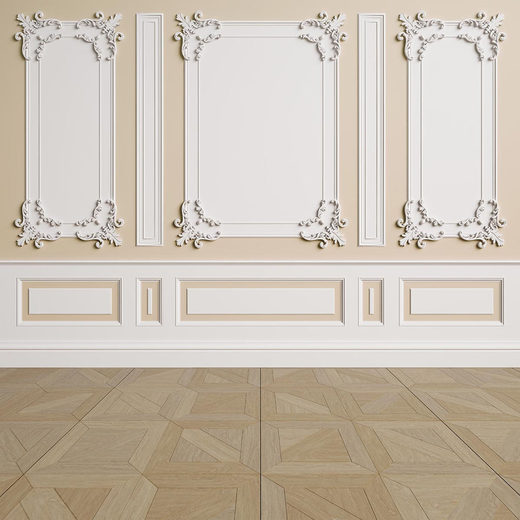 Beige White Wall Brown Wood Floor Backdrops for Wedding