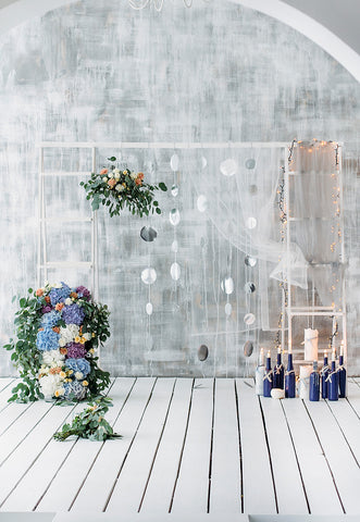 Grey Abstract Wood Floor Flowers Backdrop for Wedding