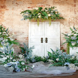Brick Wall Spring Flowers Green Backdrops for Wedding