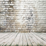 Vintage Graffiti Brick Wall Wood Floor Backdrops for Portrait