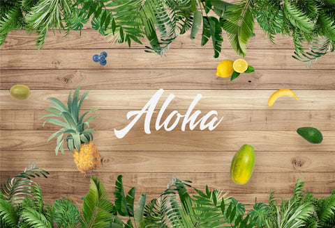 Aloha Summer Wood Wall Palm Tropical Photography Backdrop