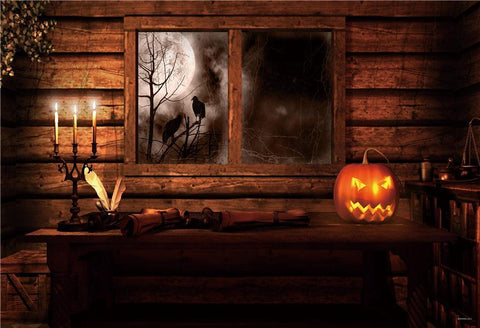 Vintage Wood Window Halloween Backdrop