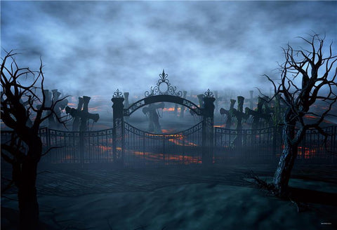 Dark Clouds Cemetery Halloween Backdrops