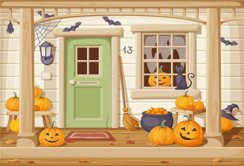 Cartoon Pumpkin Halloween Backdrops
