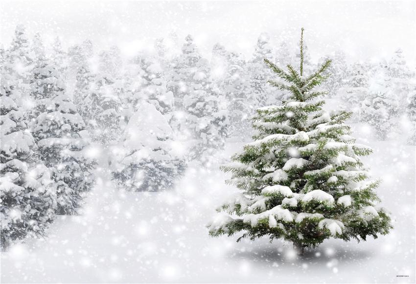 Snow Winter Pine Shiny Snowflake Photo Backdrop for Party