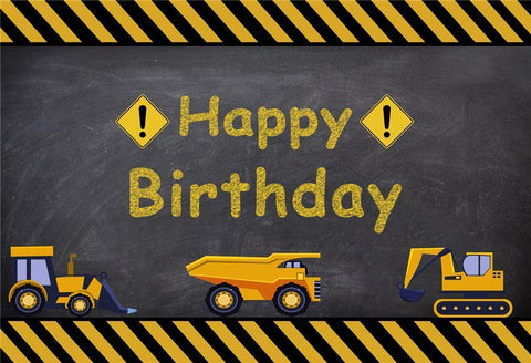 Boy Happy Birthday Trucks Blackboard Photo Booth Prop Backdrop