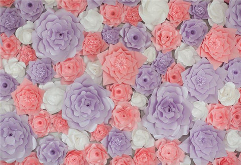 Pink Lavender 3D Flowers Backdrop for Birthday Photo Booth Prop