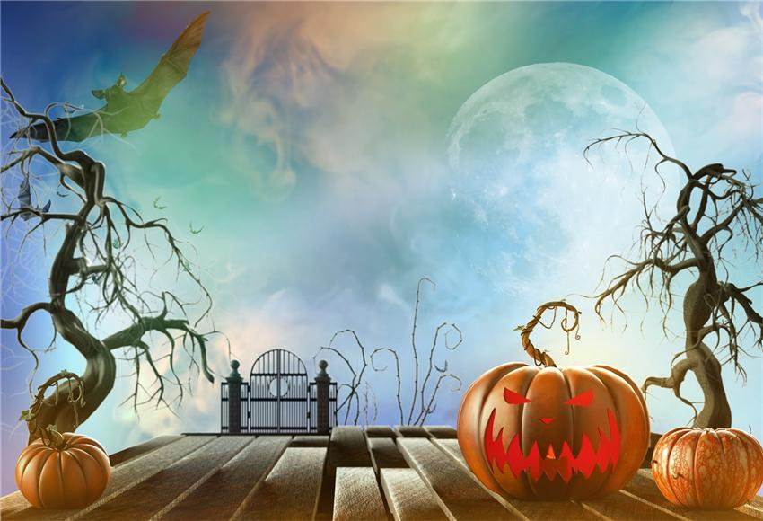 Big Moon Pumpkin Wood Floor Halloween Backdrop