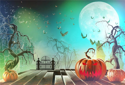 Bats Big Moon Halloween Photo Backdrops