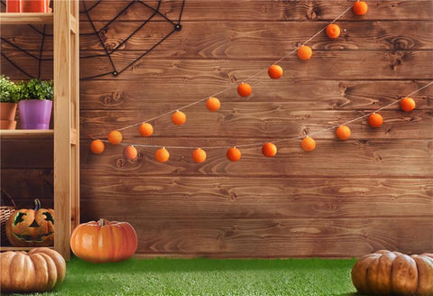 Brown Wood Grass Floor Halloween Photo Backdrops