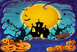 Wave Bright Moon Castle Halloween Backdrop for Party