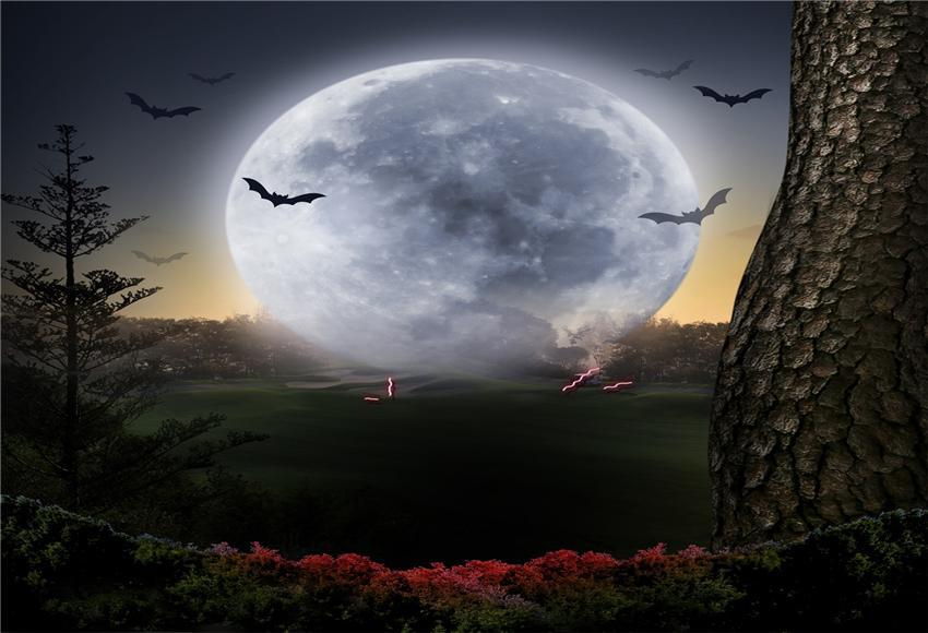 Big Moon Nature Halloween Photography Backdrop