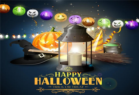 Magic Colorful Pumpkin Halloween Backdrop