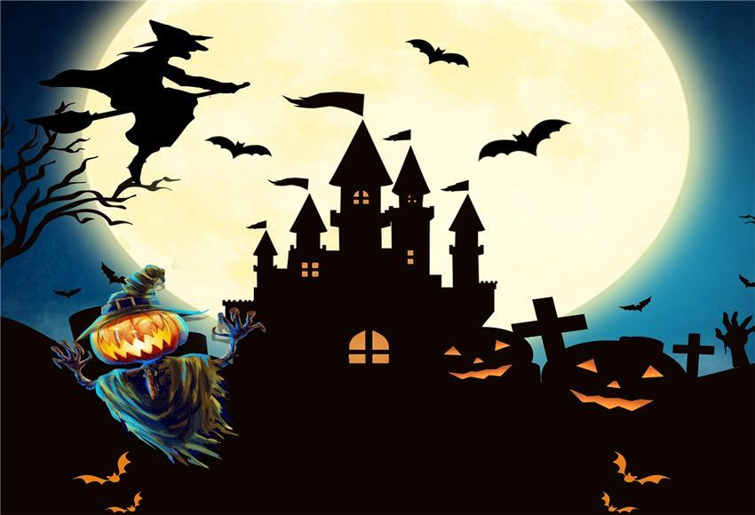 Bright Big Moon Witch Black Castle Halloween Backdrop
