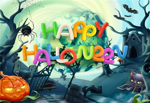 Spider Web Cartoon Happy Halloween Backdrop