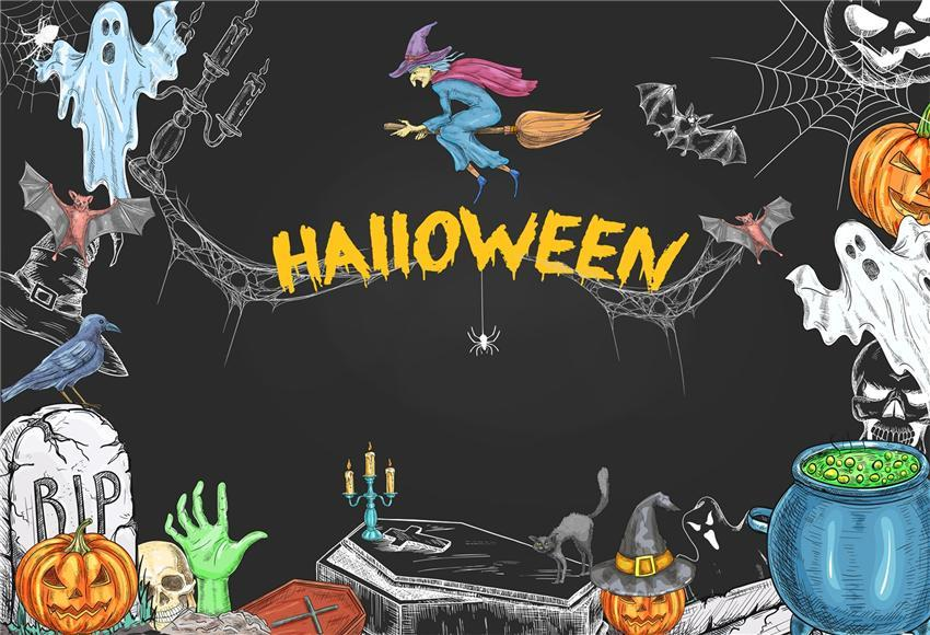 Witch Ghost Spider Web Halloween Backdrops