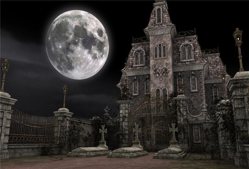 Bright Moon Brick Castle Halloween Backdrop for Photography Prop