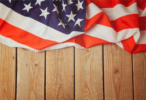 Wood Wall America Flags Photography Backdrop for Independence Day