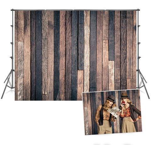 Anti-Wrinkle Dark Wood Wall Photo Backdrop for Pictures