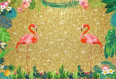 Gold Shiny Tropical Hawaii Flamingo Baby Shower Photo Backdrop for Pictures