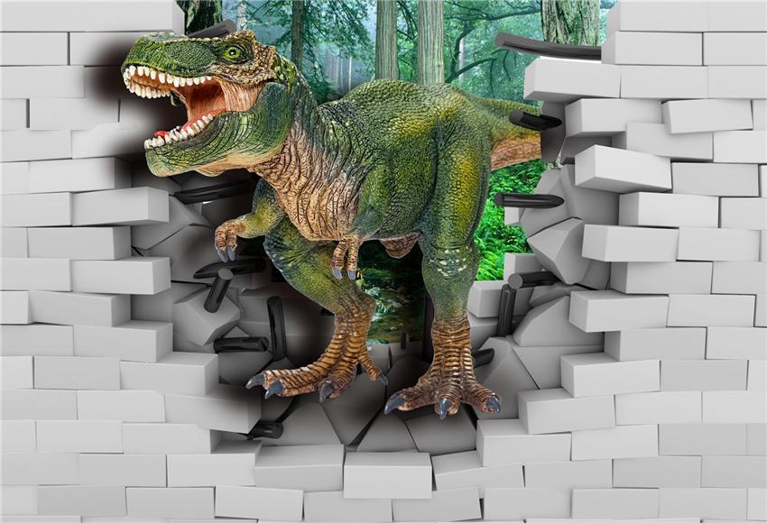 White Brick Wall Dinosaur Photography Backdrop for Party