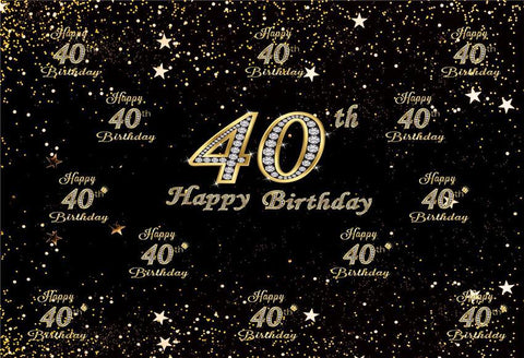 40th Diamond Happy Birthday Gold Star Backdrop for Party