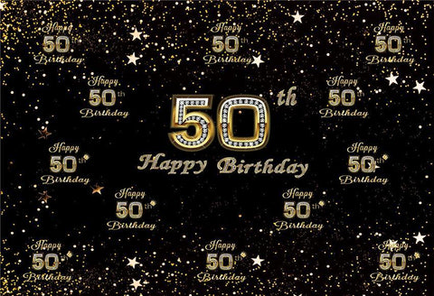 50th Diamond Happy Birthday Gold Star Backdrop for Party