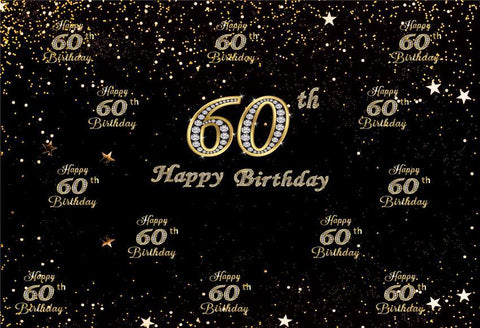 60th Diamond Happy Birthday Gold Star Backdrop for Party