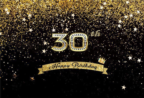 Happy Birthday 30th Gold Shiny Stars Table Banner Backdrops
