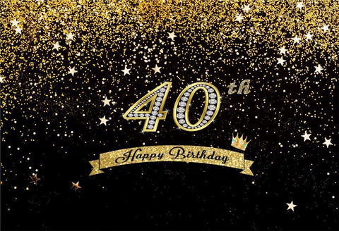 Happy Birthday 40th Gold Shiny Stars Table Banner Backdrops