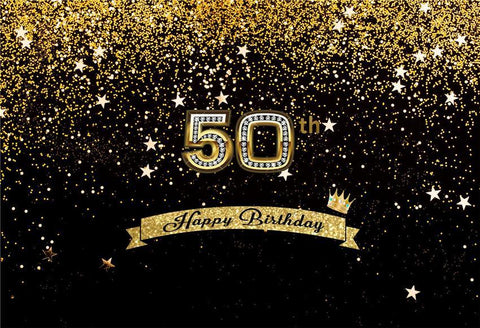 Happy Birthday 50th Gold Shiny Stars Table Banner Backdrops