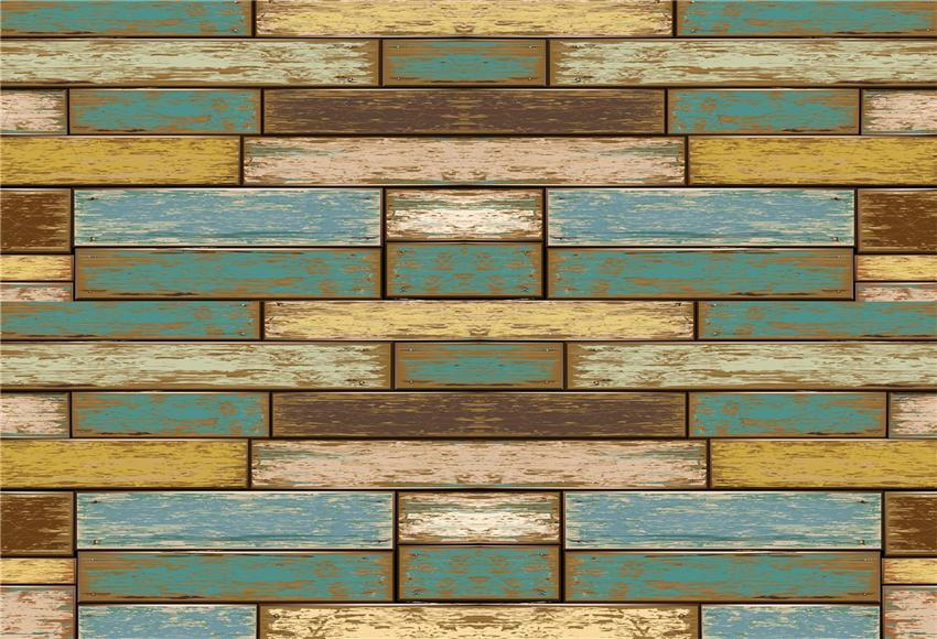 Vintage Blue Yellow Wooden Wall Photography Backdrops