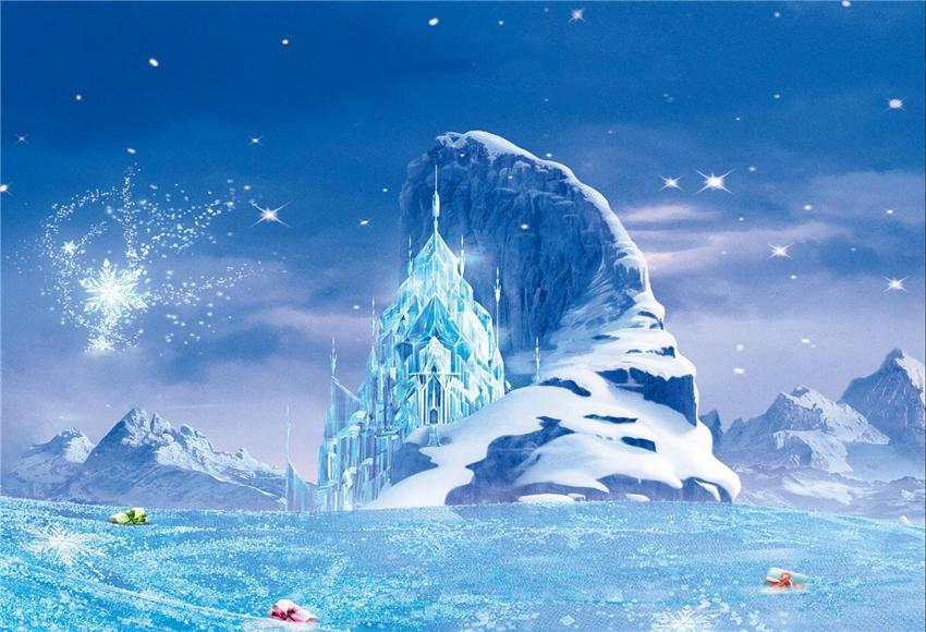 Frozen Snow Mountain Photo Booth Prop Backdrops for Picture