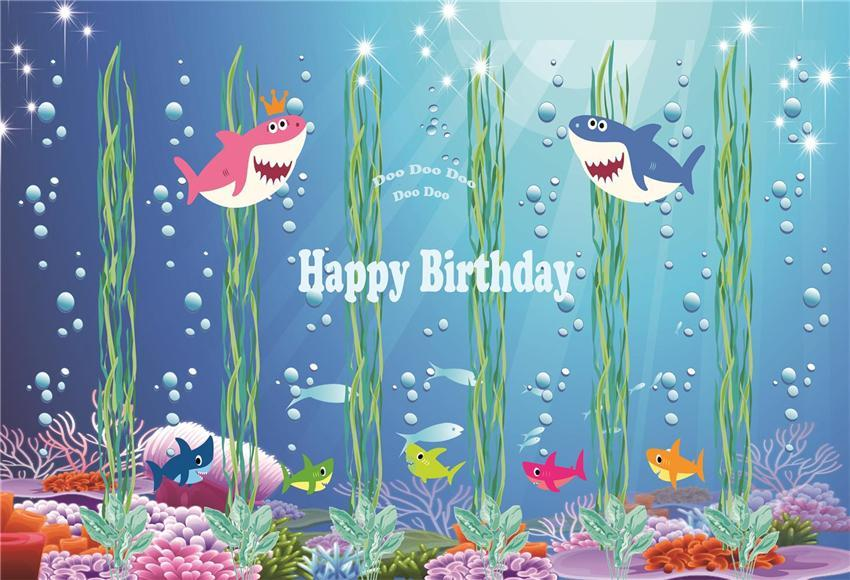 Baby Shower Happy Birthday Backdrop Under Sea Bubble for Party