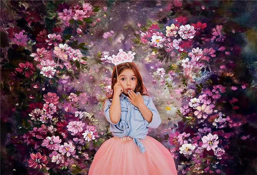 Pink Flowers Dark Backdrops for Children