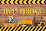 Red Brick Happy Birthday Truck Table Banner Decor Backdrops