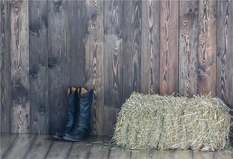 Dark Grey Wooden Straw West Autumn Photography Backdrops