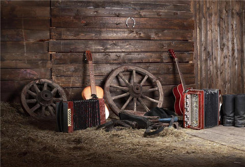Wooden Vintage Straw Barn Music Photography Backdrop for Autumn