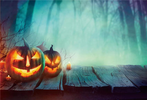 Magic Forest Pumpkin Halloween Backdrop