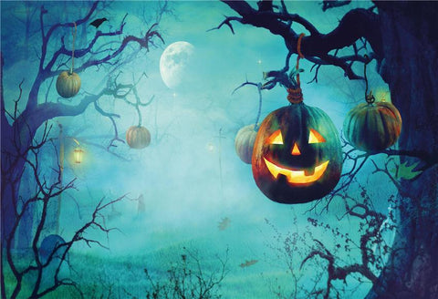 Pumpkin Light Branches Halloween Backdrops