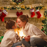 Socks Bow Brick Fireplace Christmas Photo Booth Backdrops