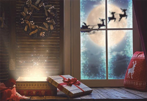 Window Christmas Elk Gift Photography Backdrops