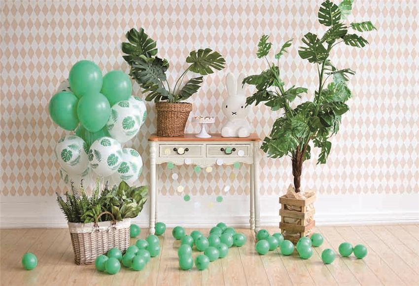 Tropical Birthday Wood Floor Backdrop for Party
