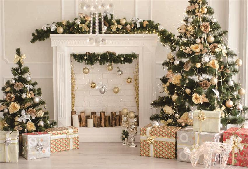 Christmas White Brick Fireplace Wood Floor Photography Backdrop
